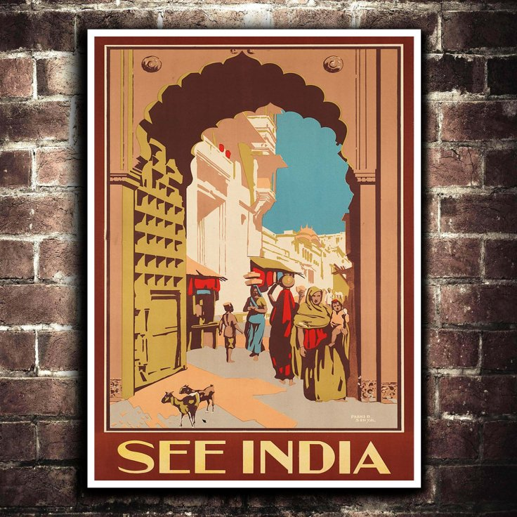 India Travel Poster -Etsy - The Pickle Shop